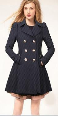 Double Button Turn-down collar Slim Plus Size Coat - Oh Yours Fashion - 2