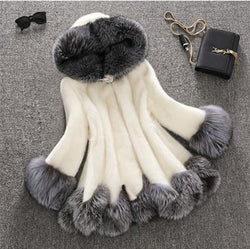 Color Patchwork Faux Fur Warm Oversized Teddy Hooded Coat