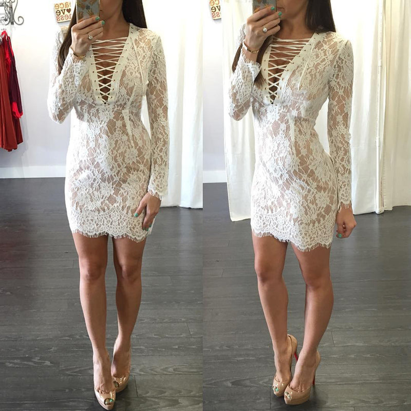 Fashion Sexy Bandage Lace Short Bodycon Dress - Oh Yours Fashion - 5