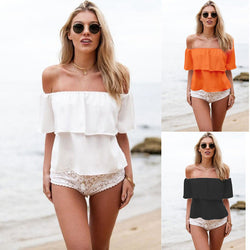 Strapless Pure Color Chiffon Falbala Sexy Beach Blouse - Oh Yours Fashion - 1