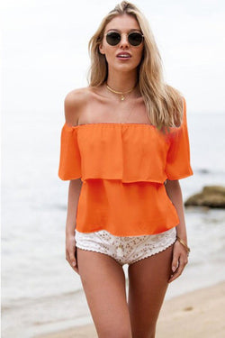 Strapless Pure Color Chiffon Falbala Sexy Beach Blouse - Oh Yours Fashion - 2