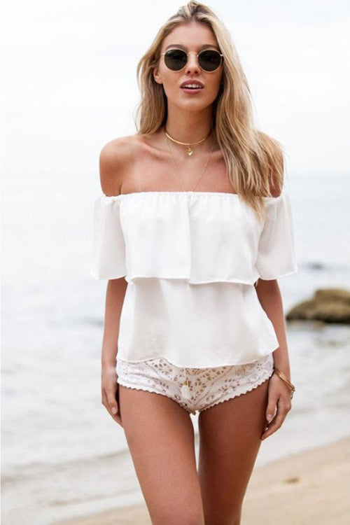 Strapless Pure Color Chiffon Falbala Sexy Beach Blouse - Oh Yours Fashion - 4