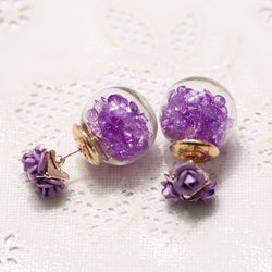 Rose Glass Crystal Ball Earring - Oh Yours Fashion - 1
