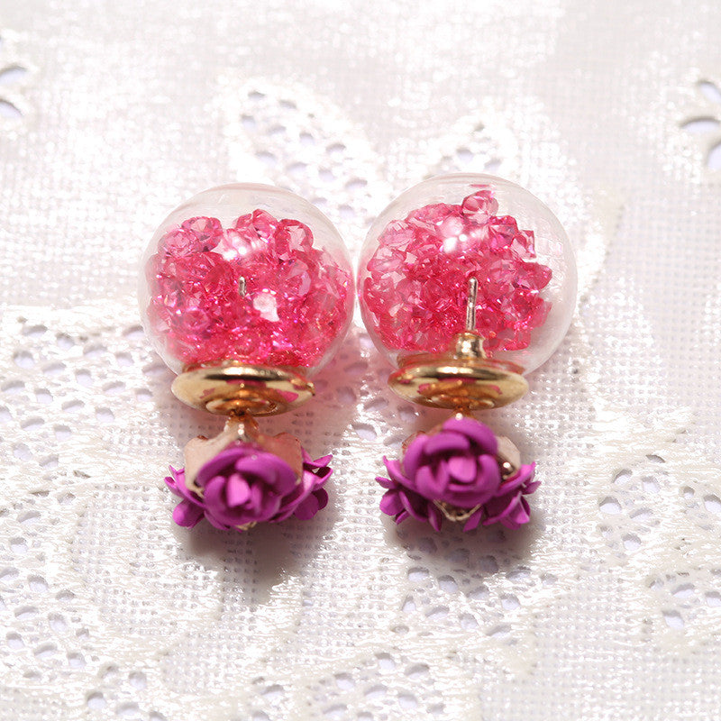 Rose Glass Crystal Ball Earring - Oh Yours Fashion - 7