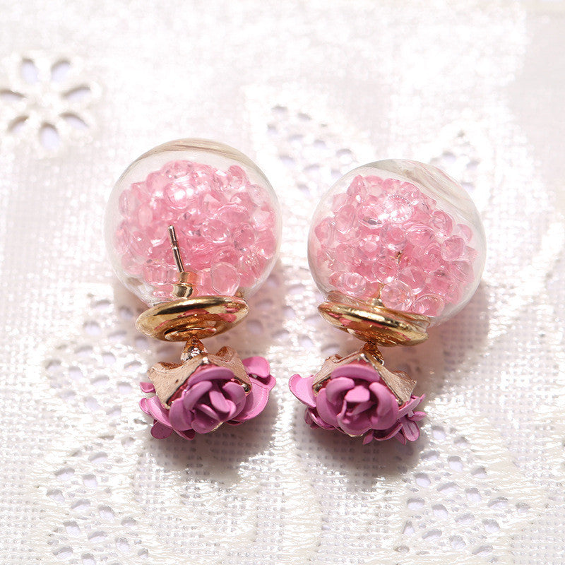 Rose Glass Crystal Ball Earring - Oh Yours Fashion - 6