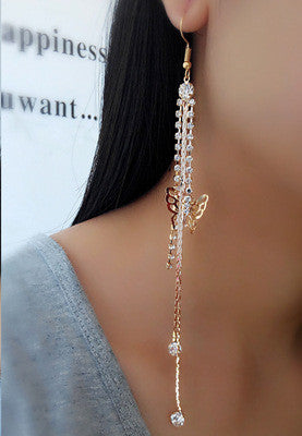 Exaggerated Crystal Tassels Party Earrings - Oh Yours Fashion - 8