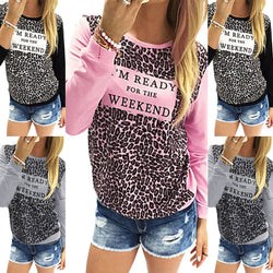 Leopard Print Long Sleeve Scoop Neck T-shirt - Oh Yours Fashion - 3