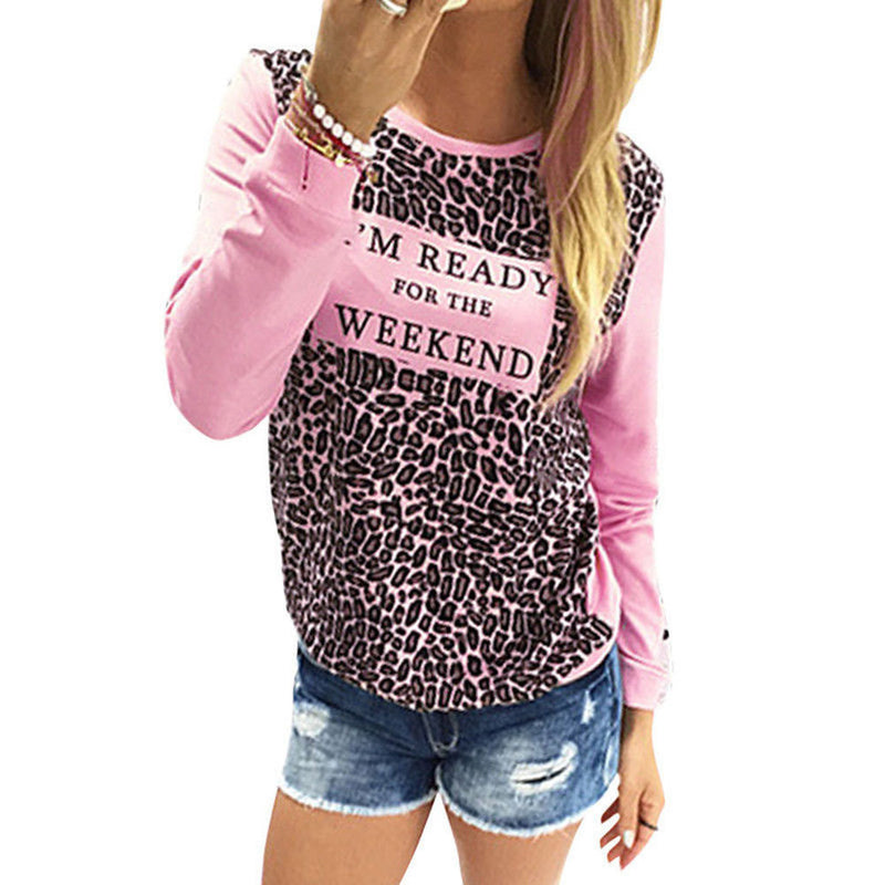 Leopard Print Long Sleeve Scoop Neck T-shirt - Oh Yours Fashion - 5