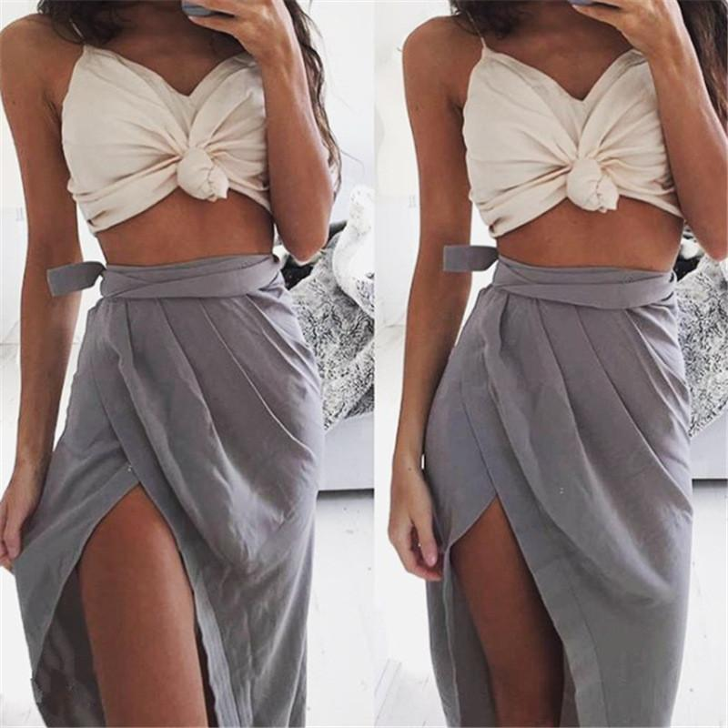 Knot Spaghetti Strap V-neck Sexy Crop Tops Vest - Meet Yours Fashion - 6