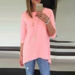 Candy Color 3/4 Sleeve Scoop Irregular T-shirt - Oh Yours Fashion - 5
