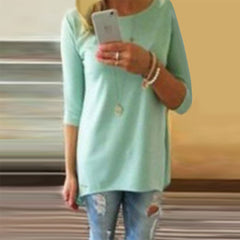 Candy Color 3/4 Sleeve Scoop Irregular T-shirt - Oh Yours Fashion - 7