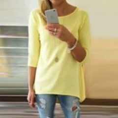 Candy Color 3/4 Sleeve Scoop Irregular T-shirt - Oh Yours Fashion - 3