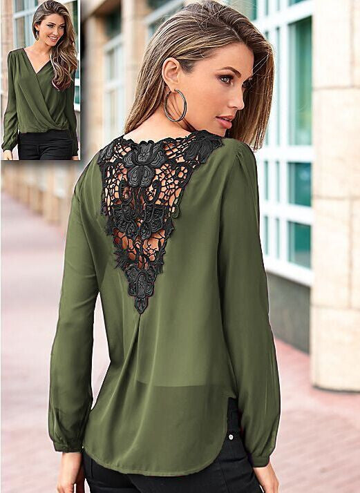 Backless Lace Patchwork V-neck Long Sleeves Chiffon Blouse - Oh Yours Fashion - 8