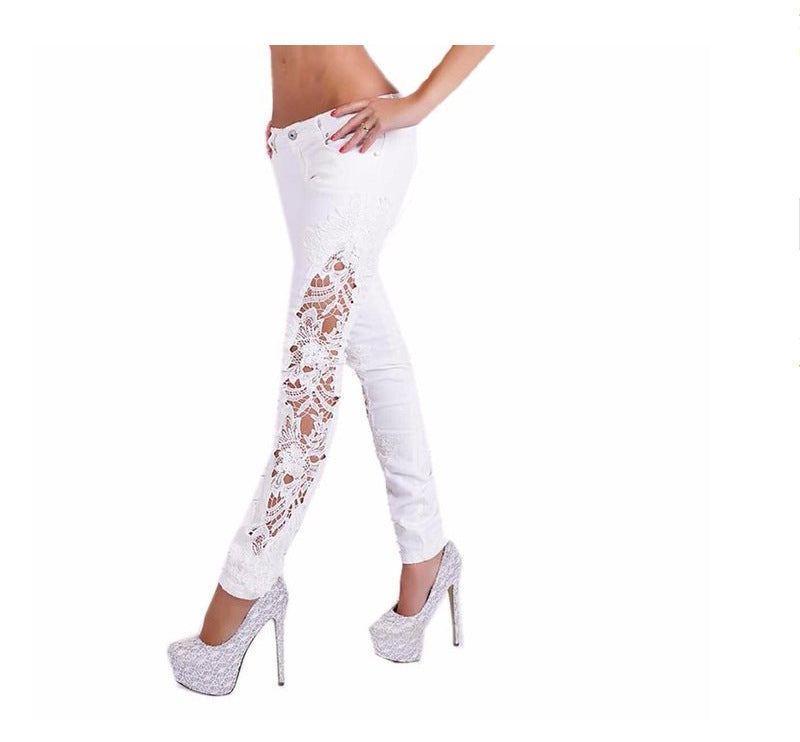 Plus Size Lace Patchwork Street Slim Straight Jeans