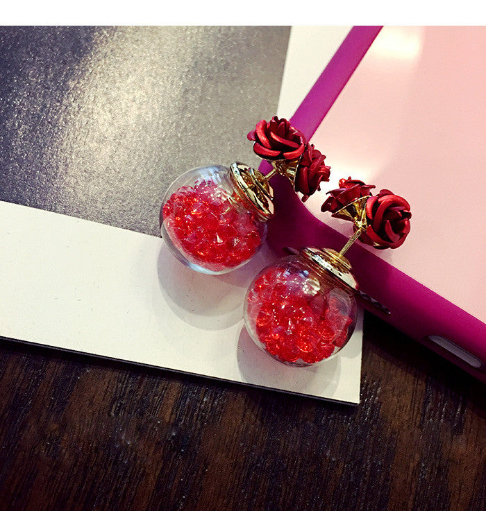 Rose Glass Crystal Ball Earring - Oh Yours Fashion - 8