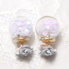 Flower Glass Ball Stars Quicksand Earring - Oh Yours Fashion - 6