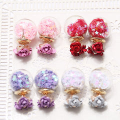 Flower Glass Ball Stars Quicksand Earring - Oh Yours Fashion - 4