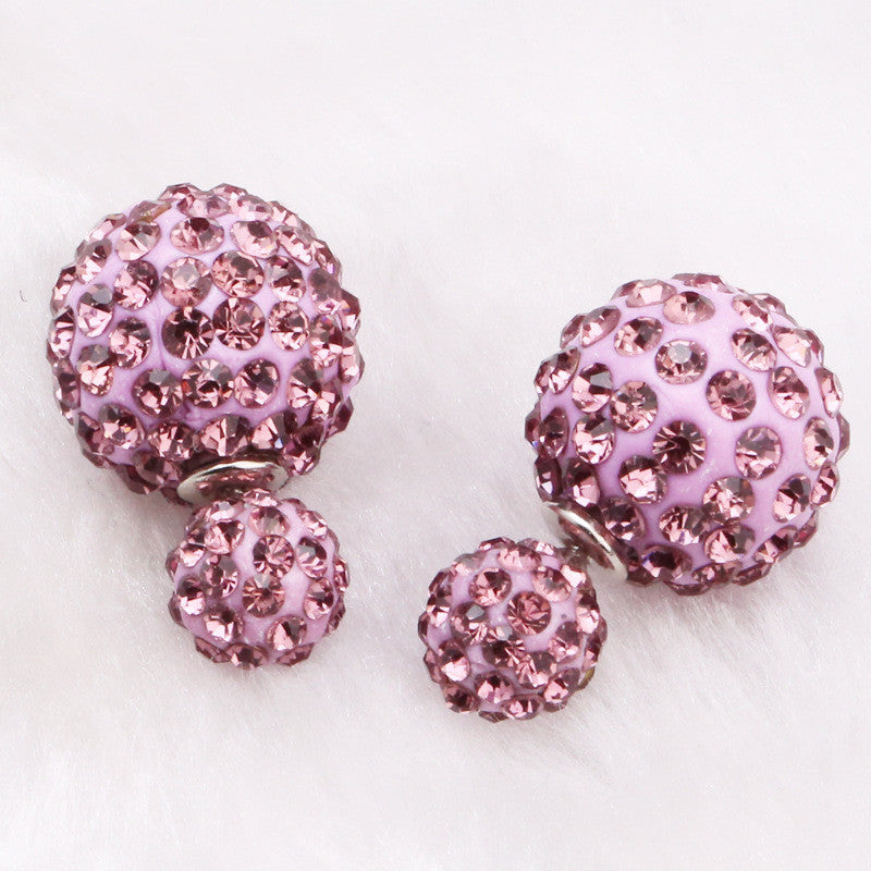Crystal Double Shambhala Ball Earring - Oh Yours Fashion - 5
