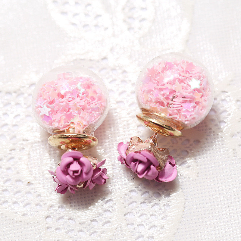 Flower Glass Ball Stars Quicksand Earring - Oh Yours Fashion - 3