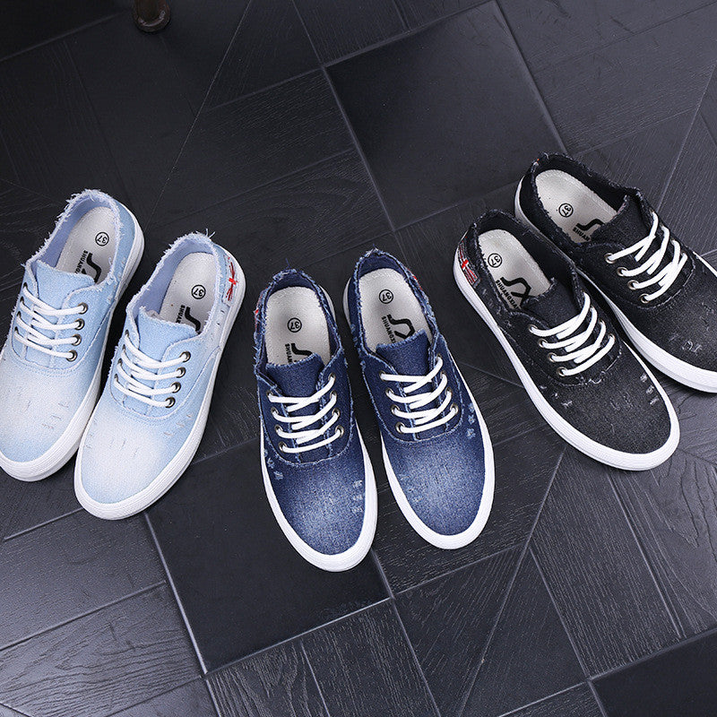 Washed Denim Sponge Lazy Single Casual Sneakers - Oh Yours Fashion - 6