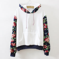Print Retro Pullover Long Sleeve Loose Hoodie - Oh Yours Fashion - 1