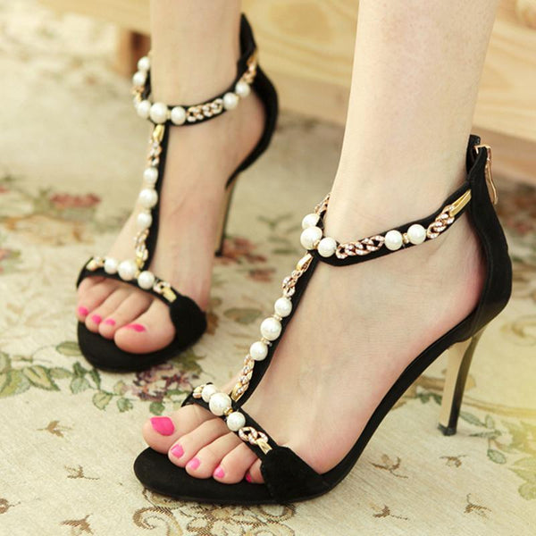 Beads Metal Decorate Open Toe Ankle Wrap Stiletto High Heels Sandals