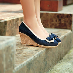 Sweet Bowknot Lace Wedge Heel Shoes - Oh Yours Fashion - 5