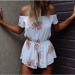 Strapless Off-shoulder Flower Print Short Sleeves Jumpsuits - Meet Yours Fashion - 1
