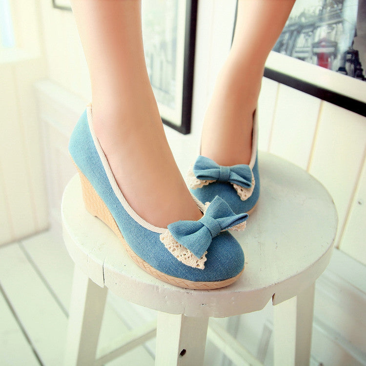 Sweet Bowknot Lace Wedge Heel Shoes - Oh Yours Fashion - 1