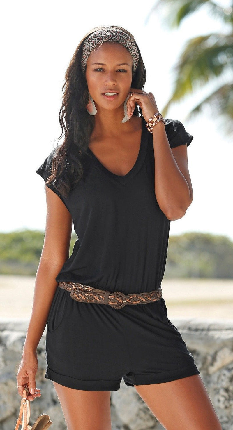 Short sleeves V-neck Spilt Sexy Beach Loose jumpsuits - Meet Yours Fashion - 7