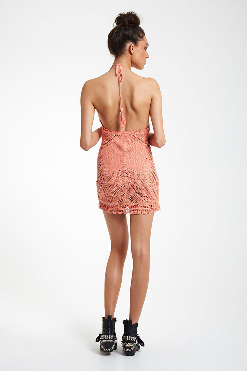 Knitting Backless Hollow out Beach Dress - Oh Yours Fashion - 3