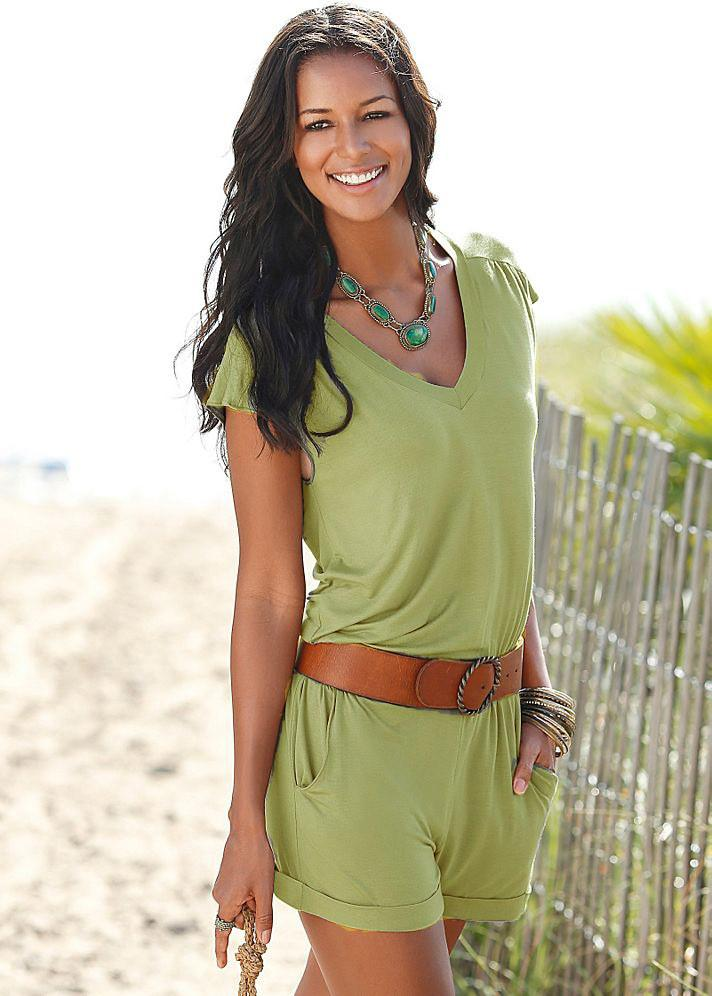 Short sleeves V-neck Spilt Sexy Beach Loose jumpsuits - Meet Yours Fashion - 4