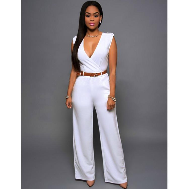 Irregular V-neck Sleeveless Wide Leg Pants Belt Long Jumpsuits - Meet Yours Fashion - 15