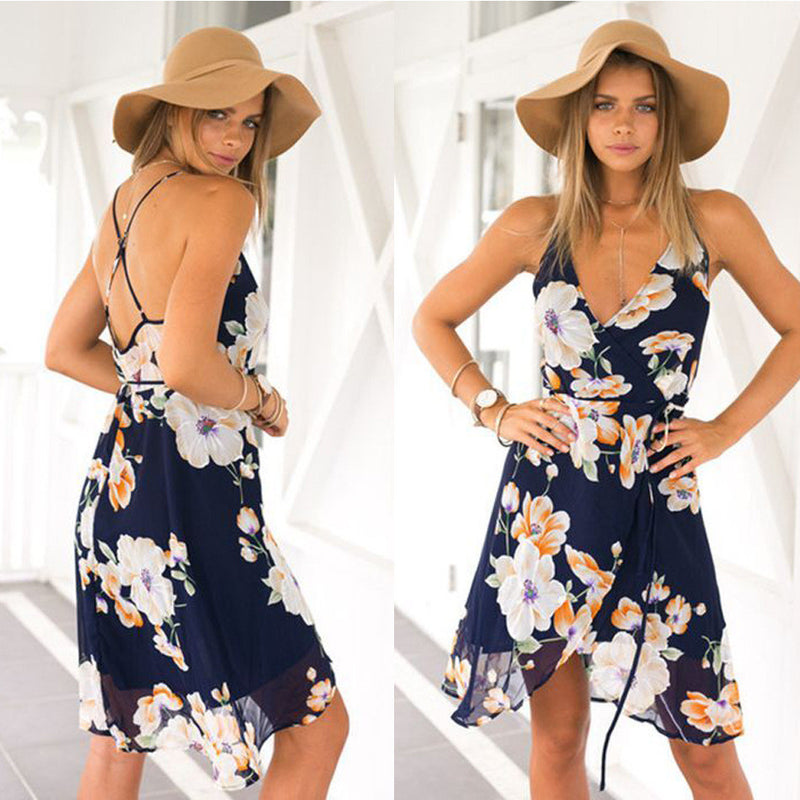 Flower Spaghetti Strap Sleeveless Irregular Knee-Length Dress - Oh Yours Fashion - 1