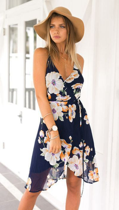 Flower Spaghetti Strap Sleeveless Irregular Knee-Length Dress - Oh Yours Fashion - 2