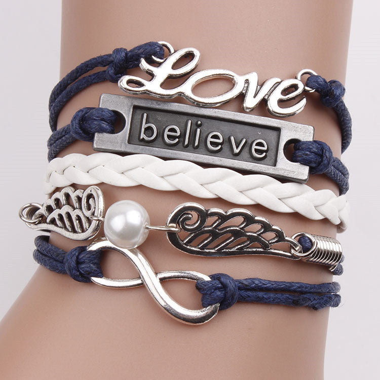 Fashion Love Believe Wings Element Bracelet - Oh Yours Fashion