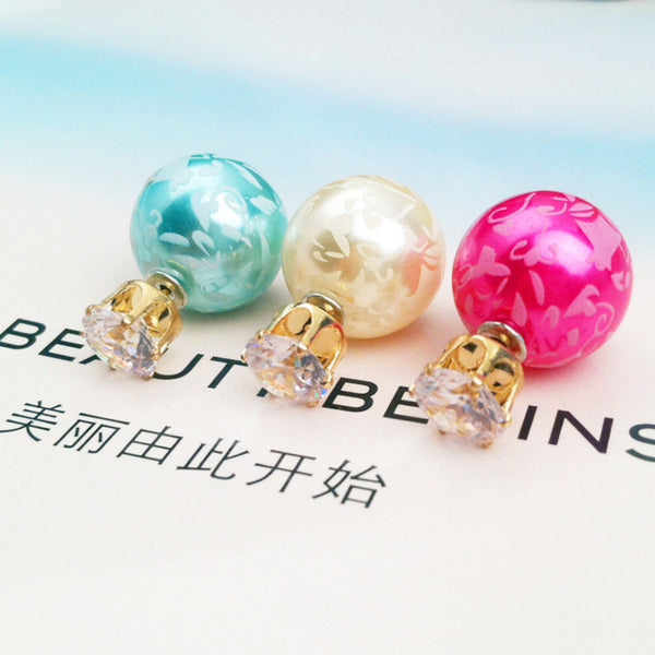 Printing Zircon Double Pearl Earring - Oh Yours Fashion - 1