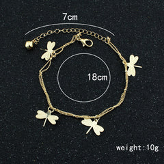 Dragonfly Bell Double Layer Anklet - Oh Yours Fashion - 3
