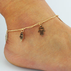 Hollow Out Hands Tassel Anklet - Oh Yours Fashion - 1