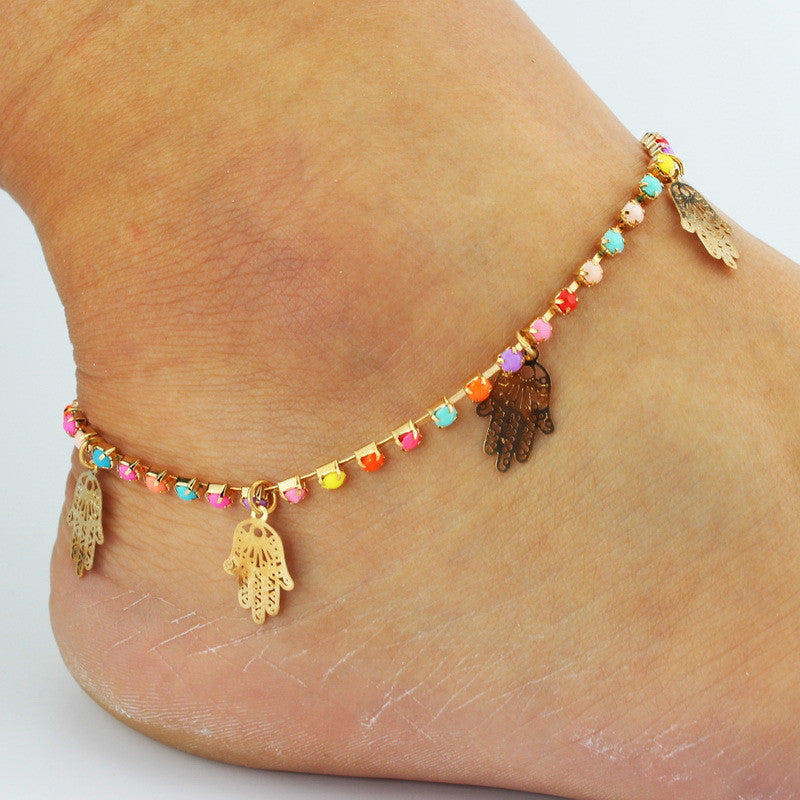 Colorful Crystal Hands Women's Anklet - Oh Yours Fashion - 1