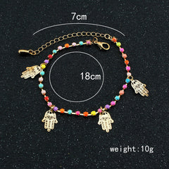 Colorful Crystal Hands Women's Anklet - Oh Yours Fashion - 3
