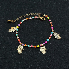 Colorful Crystal Hands Women's Anklet - Oh Yours Fashion - 2