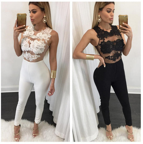 Transparent Lace Patchwork Skinny Long Jumpsuit
