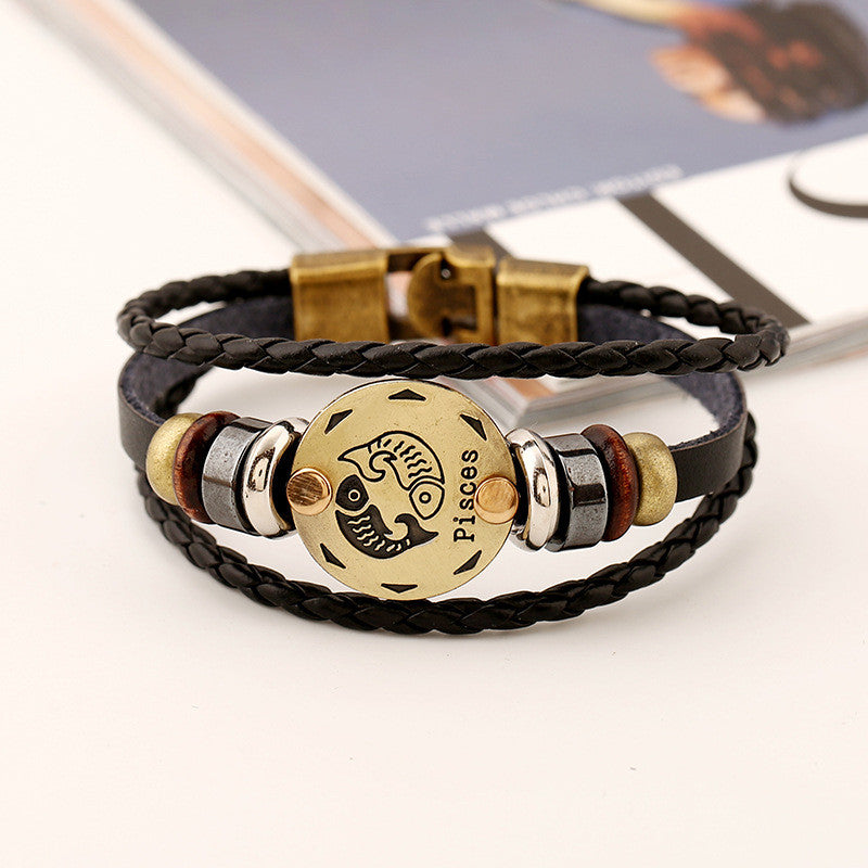 Pisces Constellation Leather Bracelet - Oh Yours Fashion - 4