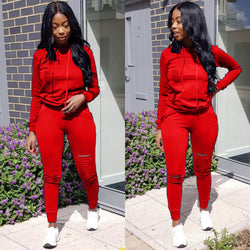 Sports Ripped Drawstring Hoodie Long Sleeve Blouse Pants Sets