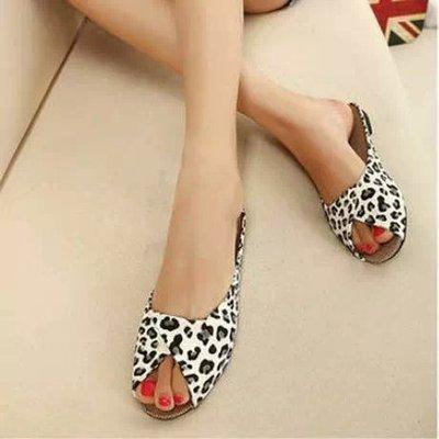 Pure Color Open Toe  Women Flat Home Slipper Sandals