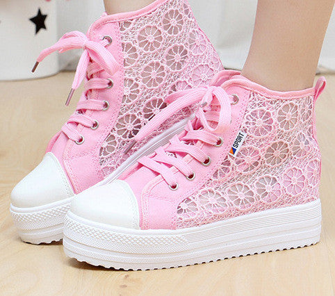 Sweet Sponge Thick Bottom Hollow Lace Sneakers - Oh Yours Fashion - 7