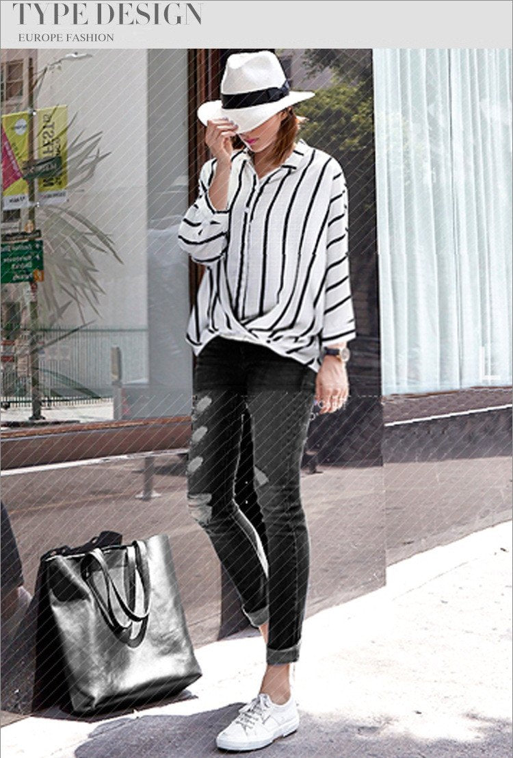 Striped V-neck Plus Size Irregular Short Sleeves Blouse - Meet Yours Fashion - 2