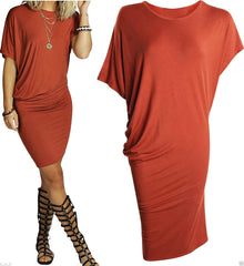 Asymmetric Short Sleeve Pure Color Sexy Bodycon Short Dress - Oh Yours Fashion - 3