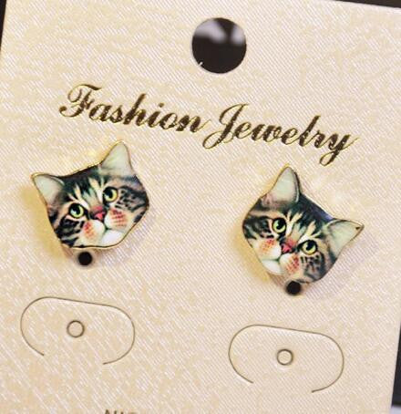Korea Style Cute Cat Face Earrings - Oh Yours Fashion - 1